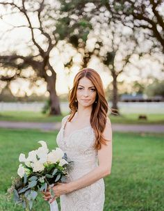 Darling Florida Wedding At A Family Farm Lush With Spanish Moss: Babys breath makes a perfect addition to this bouquet at this brides farm wedding!