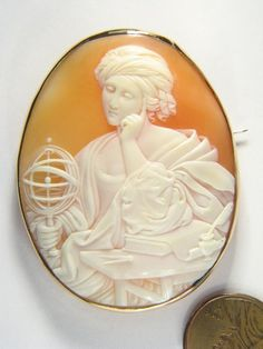 QUALITY ANTIQUE 9K GOLD CARVED SHELL CAMEO PIN BROOCH SCHOLAR LADY GLOBE c1800's | eBay