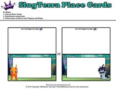 Burpy and Stinky Place Cards ~ Free Slugterra Party Printables, and Crafts | SKGaleana