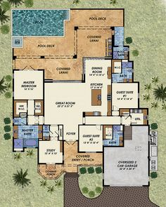 Beach Style House Plan - 3 Beds 4.5 Baths 3140 Sq/Ft Plan #548-13 Floor Plan - Main Floor Plan - Houseplans.com