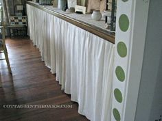 curtains for doors, home decor, Curtained sideboard Cafe Curtain Rods, Cafe Curtains, Door Curtains, Ruffled Curtains, Home Decor Kitchen, Diy Home Decor, Kitchen Design, Best Kitchen Cabinets, Diy Cabinets