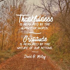 Thankfulness is measured by the number of our words. Gratitude is measured by the nature of our actions. David O. McKay.