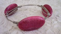 LARGE STONE BANGLE  Wired Bangle with Pink by PatricianCreations, $25.00