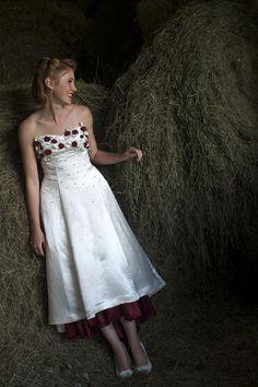 50's style silk roses asymmetrical tea length wedding dress $3500 Vintage Inspired Wedding Dresses, Tea Length Wedding Dress, Silk Roses, 1950s, Strapless Dress, Spaces, Top, Beautiful, Style