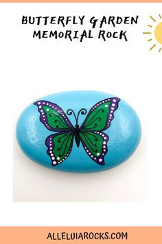 This vibrant butterfly makes a great gift or addition to a memory garden. Have a custom name added to the front! Choose from the blue or white background. #butterflygarden #memoryrock #memorialrock #memoryoflovedone #paintedrocks #rockpainting #youmatter Painted Garden Rocks, Hand Painted Rocks, Painted Stones, Black River Rock, Stone Painting, Rock Painting, Butterfly Painting, Garden Markers, Christian Gifts