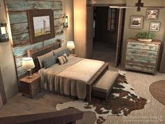 Master bedroom design concept. Turquoise wash barnwood, neutral palette, browns and coppers, textural elements like rug and metal picture frame. #conceptofrustichomedecor