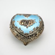 Heart Shaped Metal Jewelry Box, Silver Colored Metal with Blue Enameled Hinged Lid and 2 Roses, Red Velvet Interior by LiliesLegacies on Etsy