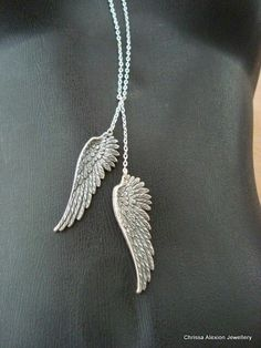 Wing Necklace Silver Wing Necklace Angel Wing Necklace Antique Silver Wings on Long Chain by LoveChrissa on Etsy Silver Necklaces, Silver Jewelry, Jewelry Necklaces, Unique Jewelry, Silver Earrings, Jewlery, Angel Wings Jewelry, Angel Wing Necklace, Elfen Tattoo