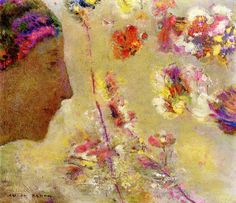 Odilon Redon - Profile of a Woman with Butterfly and Flowers