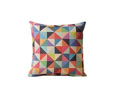 Triangle throw pillow cover 18x18 Rainbow by jorgestudio on Etsy