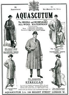 Aquascutum ~ the original and incomparable and all-wool waterproof. #vintage #Edwardian #coats #raingear #rainwear #Aquascutum #ads