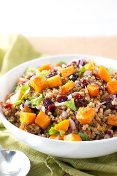 Delicious & healthy Butternut Squash Quinoa Salad that is surprisingly quick & easy to put together. Simple & Beautiful. Perfect side dish for the holidays.