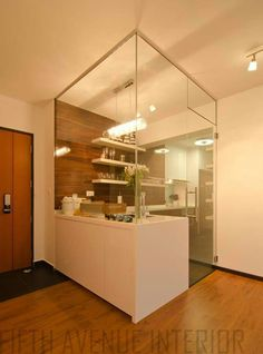 glass  concept instead of full open kitchen