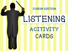 MUSIC LISTENING ACTIVITY CARDS  These music cards are designed as a visual prompt for Junior students. The cards contain descriptions students can use to demonstrate what they hear in the music.  Terms include: Fast, Slow, Loud, Soft, Spiky, Smooth, Steady Beat, No Steady Beat, Happy, Sad, Scary, Lullaby, March, Rough, Separate, Singer, No singer, Angry, High, Low, Strings, Woodwind, Brass, Percussion.