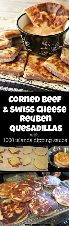 Corned Beef & Swiss Cheese Reuben Quesadillas are a cross between a Reuben sandwich and a quesadilla, but what makes them extra special is the homemade 1000 Islands Dipping Sauce! You're going to LOVE these!! | Kudos Kitchen by Renee