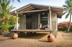 """Zen beach house, Auroville, India:  A new light roofing technique was successfully experimented with – sandwiching 1"""" thick sheets of Styrofoam for heat insulation, between a false ceiling of fibre board below and thin sheets of aluminum above for waterproofing and heat reflection."""