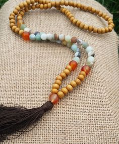 108 Mala Necklace Buddhist Meditation Mala Wood Mala Tassel Boho Necklace Hippie Ethnic Amazonite Carnelian Beaded Necklaces
