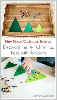 Fine Motor Christmas Activities: Decorate the Felt Christmas Trees (Fun learning activity for toddlers and preschoolers!)~ BuggyandBuddy.com