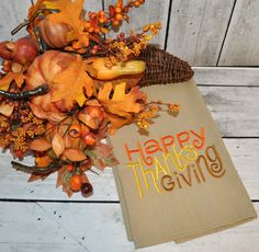 Thanksgiving Flour Sack Towels - pinned by pin4etsy.com