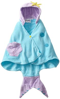 Kidorable Little Girls'  Mermaid Towel, Blue, Small(0-2 years)