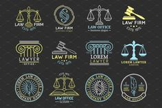 Law office logos set with scales of justice,gavel etc illustrations. Lawyer Office, Office Logo, Cafe Logo, Hand Sketch, Logo Inspiration, How To Introduce Yourself, Slogan, Free Design, I Shop