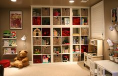 """IKEA Hackers: Stacked EXPEDIT """"built-in"""" bookcases for playroom"""