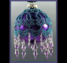 Purple and Teal Fleur de Lace Handmade Beaded Tree Ornament -- Created using seed beads, crystals and silver metal beads from Laura Jansen's The Beadecked Ornament Book 3.