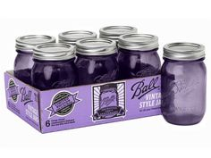 NEW 2015 Ball Mason 16oz Heritage Collection Purple pint canning jars case of 6 #Ball