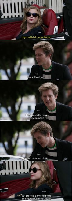 """But there is only one blond allowed behind the wheels."" - Nolan and Emily - Season 4 Episode 1 ""Renaissance."" #Nemily"