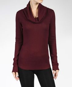 Another great find on #zulily! Burgundy Ribbed Cowl-Neck Top #zulilyfinds