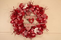 This is how I use deco mesh ribbon and embellishments to make a Valentine's Day wreath.