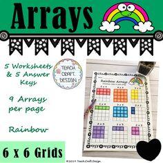 Array Multiplication, Array Worksheets, Teacher Newsletter, Design Crafts, Back To School, Grid, Keys, Teaching, Store