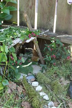 """fairy house...simple, natural, and sweet...only us people get caught up in """"kits"""" and fairy doors that don't actually go anywhere :)  ...the fairies will inhabit a simple dwelling created in love <3"""