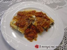 Σουφλέ μελιτζάνας με τυριά και σάλτσα #sintagespareas
