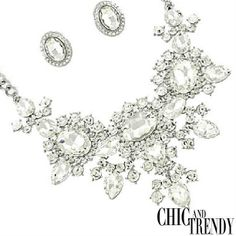 """HIGH END"" EXQUISITE VERY CHUNKY""CLEAR""CRYSTAL FORMAL Necklace Set *CHIC  TRENDY"