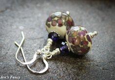 Handcrafted Earrings, Ivory with Colored Drops, Artisan Glass Lampwork, Sterling Silver
