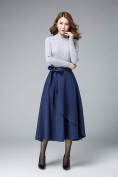 blue skirt wool skirt layered skirt tie belt skirt boho