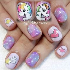 43 Unique Spring And Summer Nails Color Ideas That You Must Try 71 Pretty Nail Art, Cute Nail Art, Cute Nails, Unicorn Nails Designs, Unicorn Nail Art, Little Girl Nails, Girls Nails, Girls Nail Designs, Nail Art Designs