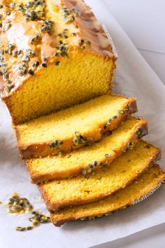 A soft & tender Mango Loaf Cake given an extra zing w/ a fresh Passion Fruit Glaze. Easy to make and an ideal crowd-pleaser. It's also perfect w/ your afternoon tea! Mango Recipes, Sweet Recipes, Juice Recipes, Detox Recipes, Fruit Cake Recipes, Salad Recipes, Mango Dessert Recipes, Drink Recipes, Vegan Recipes