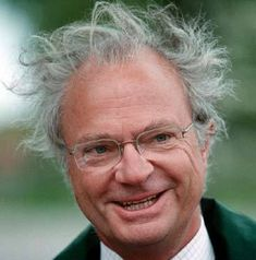 King Carl Gustaf of Sweden, not a good hair day. Funny.