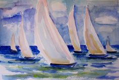 Sails Across the Water, painting by artist Delilah Smith