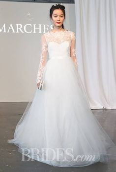 Long Sleeve Re-Embroidered Lace and Tulle A-Line Marchesa Wedding Dress - Spring 2015 Collection