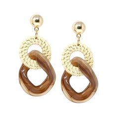 Straw Hoop with Textured Acetate Chain Drop Earrings – USJewelryhouse Macrame Earrings, Diy Earrings, Hoop Earrings, Ear Jewelry, Jewelry Making, Diy Straw, Straw Weaving, Rustic Jewelry, Gifts