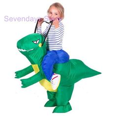 Collection Here Kids Cosplay Suit Props Costume Funny Animal Inflatable Dinosaur Costume Children Fantasy Holiday Clothing For Kids Stick Horses