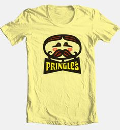 Pringles-mustache-T-shirt-retro-cool-junk-fast-food-cotton-graphic-printed-tee