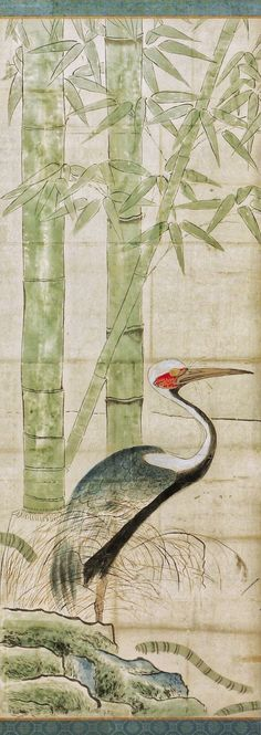 Detail. 尾形光琳筆 松竹に鶴図屏風 Cranes, Pines, and Bamboo. Ogata Kōrin (Japanese, 1658–1716). Edo period (1615–1868). late 17th century. Pair of Japanese folding screens; ink and light color on paper. The Met.