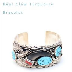 Vintage Bear Claw Turquoise and Coral Bracelet MATERIALS  Sterling silver, Turquoise, Coral, Real Bear Claw  WEIGHT  2.7oz 78g    MEASUREMENTS              2.9 x 2.5 x 1.6 inches 7 x 6 x 4 cm   DESCRIPTION This traditional craftsmanship of the amazing artist Lucky was beautifully displayed in this sterling silver bracelet. Symbolizing great strength in the Native American culture, this piece highlights a rare bare claw featured in a sterling silver overlay, beautifully accented with…