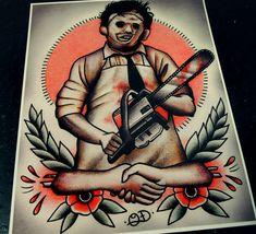 Leatherface Tattoo Art Print by ParlorTattooPrints on Etsy
