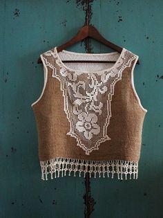 burlap and crochet lace bodice / rustic  -  wearable art. $ via Etsy.