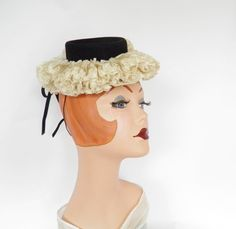 1940s tilt hat, NOS, WW2,  NY Creation by TheVintageHatShop on Etsy